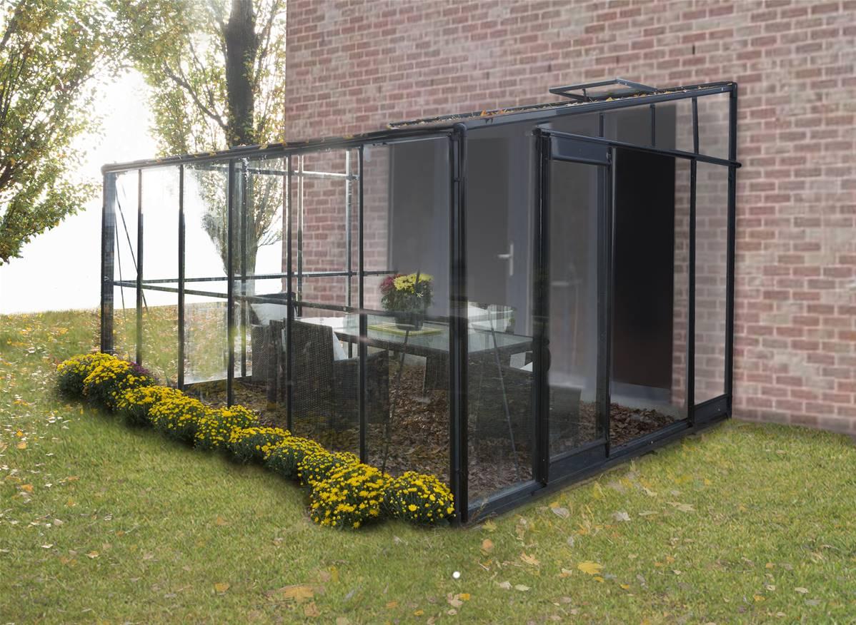 Veranda Metal Et Verre chalêt-jardin véranda en verre et aluminium gris solarium 7,22m² - 804425