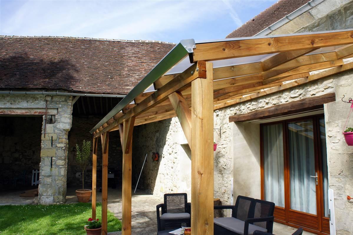 Toit Couv Terrasse En Bois 3x10 4 M Avec Toit Polycarbonate