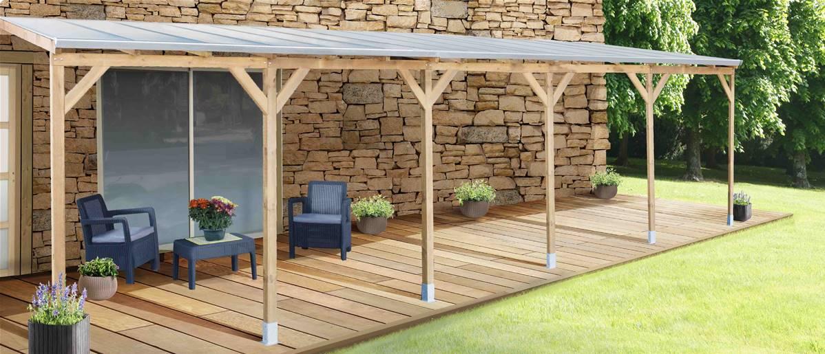 Toit Couv\'Terrasse® en bois 3x9,2 m - Avec toit polycarbonate