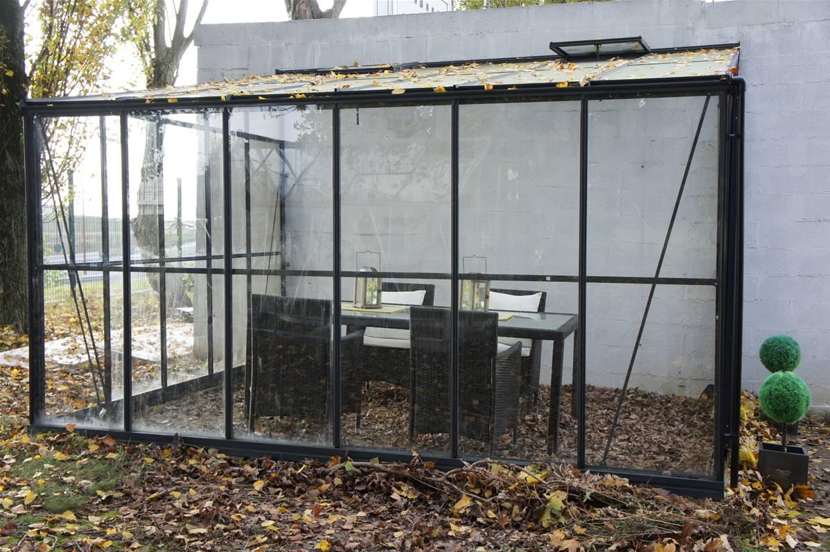 Veranda Metal Et Verre chalet & jardin véranda en verre et aluminium gris solarium 9,61m² - 804432